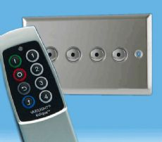 V-Pro IR, 4 Gang, 100 Watt Remote Control/Touch LED Dimmer Polished Chrome inc Scene Remote